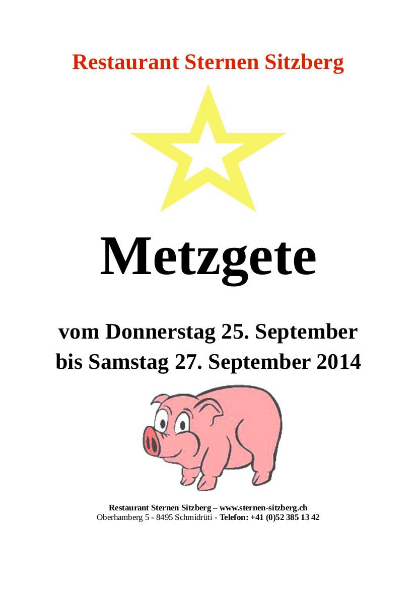 Metzgete Restaurant Sternen Sitzberg September 2014