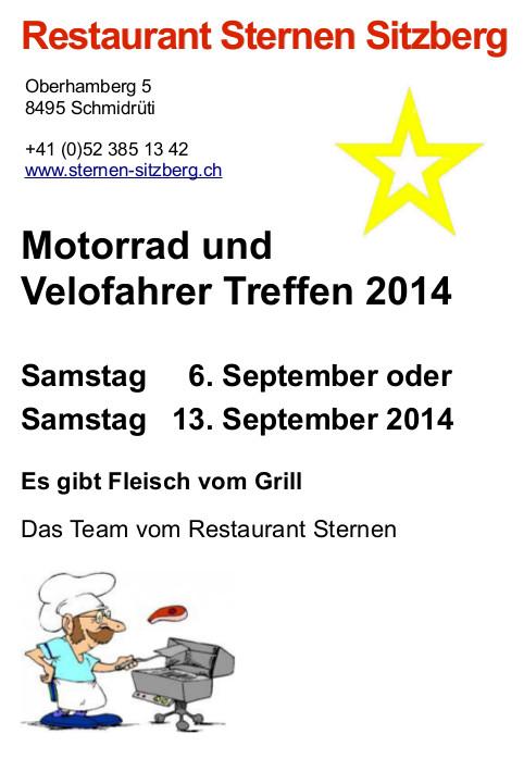Motorrad und Velo Treffen 2014 Restaurant Sternen Sitzberg