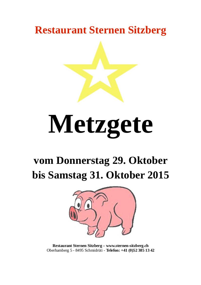 Plakat Metzgete Sternen Oktober 2015